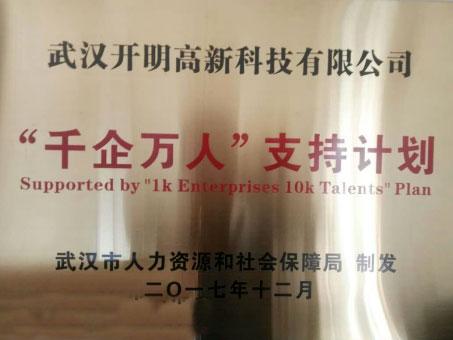 """我公司获得武汉市""""千企万人""""支持计划"""